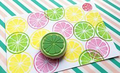hand carved rubber stamp by talktothesun. it can be lemon, lime, orange, grapefruit, yuzu. tropical fruit stamp series for your summer diy crafts + block printing. Summer Crafts, Crafts For Kids, Diy Crafts, Potato Stamp, Stamp Carving, Fabric Stamping, Block Craft, Handmade Stamps, Canvas Designs
