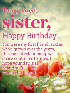 Pretty daisy happy birthday wishes card for sister your sister happy birthday wishes card for sister a sunny sky above and a vibrant garden of flowers below creates the perfect setting for wishing your sister a m4hsunfo
