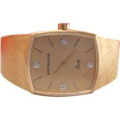 Vintage Men's Wittnauer Quartz Diamond Dress Wrist Watch