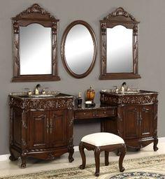 bathroom vanity with makeup vanity attached | 48 rosewood vanity ...