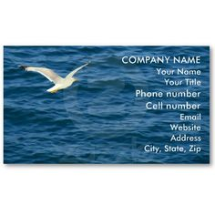 Seagull in Flight over Water Business Cards by birdersue from Zazzle - Digital photography and design by Sue Melvin