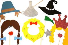 """Follow the Yellow Brick Road with this amazing set of 10 Wizard of Oz Props on a stick! - This set includes, Dorothy, Tin Man, Scarecrow, Cowardly Lion, Wicked Witch, and Glinda the Good Witch! Limited qty available!   What's included? ♥ Dorothy Braided Hair with Blue Gingham Bows (approx. 10""""..."""