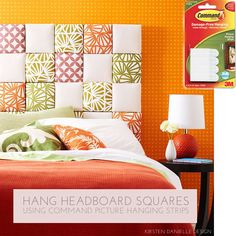 Hang headboard squares using Command Picture Hanging Strips