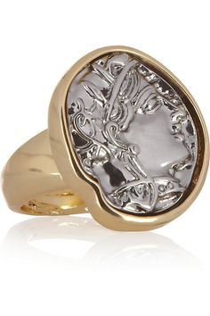 Gold-plated coin ring by Kenneth Jay Lane