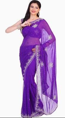 Enigmatic Pale Deep Purple Embroidered Saree