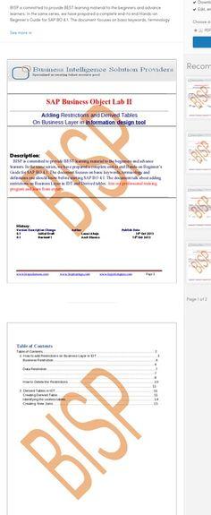 SAP Business Object IDT LAB I