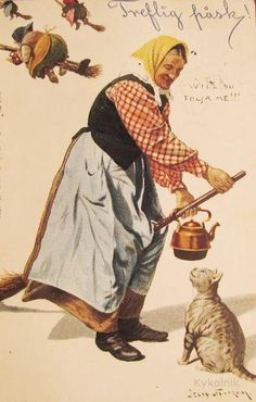 The good Easter witch, Jenny Nystrom. Scandinavian Easter Witches * always older, with copper kettle, broom, & her cat. Dressing more like late 1800s or early 1900s ordinairy people clothes. THIS is for EASTER ! not Halloween.