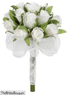 TheBridesBouquet.com - White Silk Rose Bud Toss Bouquet -1 Dozen Silk Rose Buds - Bridal Wedding Bouquet, $9.99 (http://www.thebridesbouquet.com/white-silk-rose-bud-toss-bouquet-1-dozen-silk-rose-buds-bridal-wedding-bouquet/)