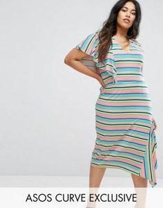ASOS CURVE Bright Stripe Tea Dress
