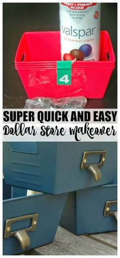 Dollar Tree bins get an incredible makeover with spray paint and pulls.