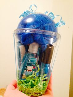 Easy Christmas gift for girls! It's filled with 2 pair of socks, nail polish, sanitizer and a loofa puff!