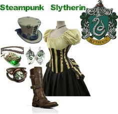 """Steampunk Slytherin"" by nearlysamantha on Polyvore"