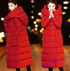 Womens Parka Thicken Cotton Coat Overcoat Hooded Over Knee Waist Belt Winter