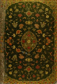 azorica:  Late 18th-century lacquer binding with gilt arabesques and flowers on green background; inner covers red leather with gilt arabesq...
