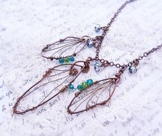 Craft Dragonfly Wings | Dragonfly Wings wire wrapped necklace by freerangeart on Etsy, $36.00