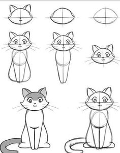step draw easy drawing beginners cool things tutorials drawings cat animal sketches simple animals charcoal pencil guide craft team lessons