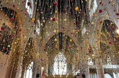 Suspended Flower installation by Rebecca Louise Law