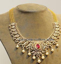Jewellery Designs: Adorable Diamond Necklace By Hiya Jewels