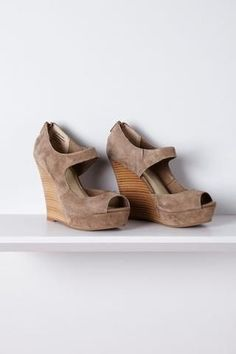 Last Minute Wedges - love the color of the suede and wood