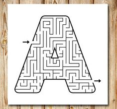 Gratis utskrivbara Labyrint: A Printable Mazes, Free Printables, Letter Maze, Math Worksheets, Preschool, Lettering, Teaching, Activities, Education