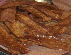 Eggplant Bacon (raw/vegan) Need dehydrator for this recipe.