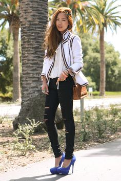 neutral outfit with a pop of color :)  White-chanel-jacket-white-eryn-birnie-blouse-black-anarchy-street-jeans