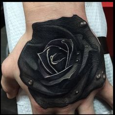 Check out this solid black rose hand piece by @ames32! #blackrose #savemyink