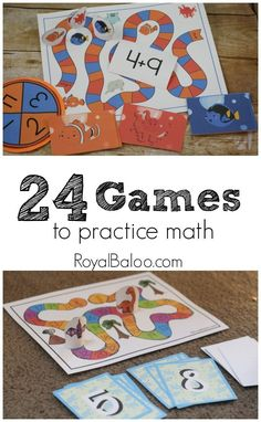 24 math Games for practicing counting, addition, subtraction, skip counting, telling time, shapes, rounding, and multiplication.