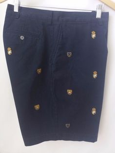 Polo Ralph Lauren Shorts Size 42 Navy Blue Embroidered Crest Shield  #PoloRalphLauren #CasualShorts