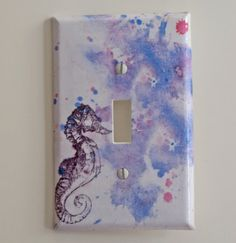 Light Switch Cover Sea Horse Art Great baby nursery by idillard, $12.00