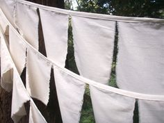 Prayer Flag Bunting- 3 Strands of Natural Cotton Flags Ready to personalize. Perfect for Weddings, Retirement, Office Parties, Birthdays. $45.00, via Etsy.