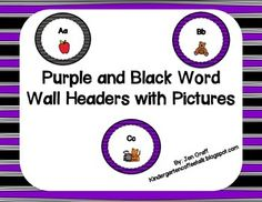 Purple and Black Word Wall Headers with Pictures