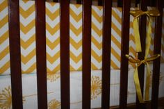 Yellow Chevron Bumper by DesignsbyChristyS on Etsy, $100.00