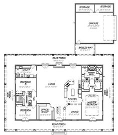 1 Story House Plans with Wrap Around Porch . New 1 Story House Plans with Wrap Around Porch . Country Style House Plans 1640 Square Foot Home 1 Story 3 House Plans One Story, Barn House Plans, New House Plans, Dream House Plans, Small House Plans, Story House, Shop House Plans, Pole Barn Homes Plans, Metal House Plans