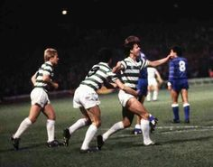 Celtic 2 Ajax 2 in Sept 1982 at Parkhead. Charlie Nicholas puts Celtic level with a penalty after 14 minutes in the European Cup 1st Round, 1st Leg.