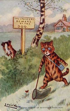 Louis Wain Butterfly Catching Cat Beware Dog