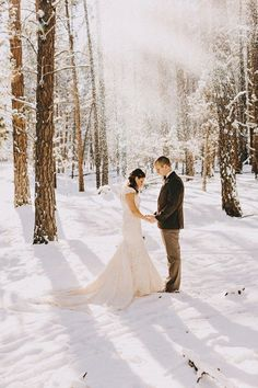 35 Beautiful Christmas Wedding Dresses Ideas - Beauty of Wedding Winter Wedding Snow, Snowy Wedding, Winter Wedding Colors, Winter Wonderland Wedding, Winter Wedding Inspiration, Elope Wedding, Dream Wedding, Wedding In The Snow, Winter Snow