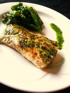Pan seared mahi mahi with cilantro chimichurri Peas and asparagus sautéed with…