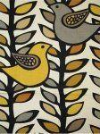$17.99 per yard! Scandinavian Retro Modern Folk Art Bird Leaves Black Trees Branches Linen Texture Heavy Cotton Fabric Drapery Fabric LHD115...