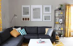 grey & yellow living room decor