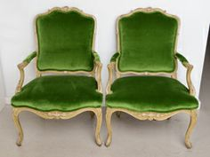 Pair of Bergeres with Green Velvet- Armchairs image 2
