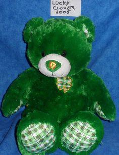 "Build A Bear 17""  LUCKY CLOVER ST. PATRICKS BEAR BABW 2005  SA2 #StPatricksDay"