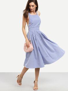 Vestido rayas sin manga espalda cruzada -azul-Spanish SheIn(Sheinside)