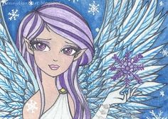 ACEO Original TW Dec anime manga Snow angel purple hair and eye by Jenny Luan #Surrealism