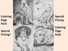 Wouldn't these adorable dogs be so fun to color? Hand drawn in classic grayscale, this coloring page is the perfect way to relax, stay creative and even hone your artistic skill! See more printable coloring pages @ ArtistryByLisaMarie.Etsy.com