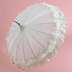 Bridal Parasol: first half 20th century, matching ruffles, black post handle.