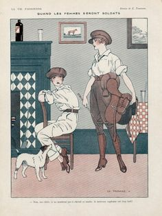 La Vie Parisienne Edouard Touraine 1916 Female Soldiers, Women Dressed As Men illustrated by Edouard Touraine