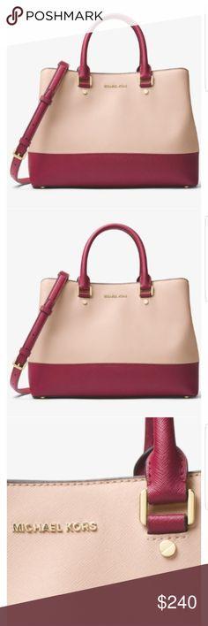 b4d80364725fab ️MICHAEL KORS satchel Color: ▫️soft pink & mulberry Name: ▫️Savannah  Color-Block Saffiano Leather Satchel ▫️Style # 3OF7GS7S3T Size: ...