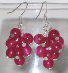 Red Current Earrings - Lovely Pink Jade