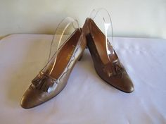 Neiman Marcus Tassels Leather Lined TAUPE Pumps